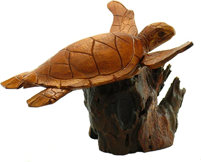 3 PC Sea Turtles on Driftwood Base Hand Carved Wood Art Home Decor Wood Island Tiki Bar Ornaments Patio Garden Pool Tiki Decor Tiki Mask