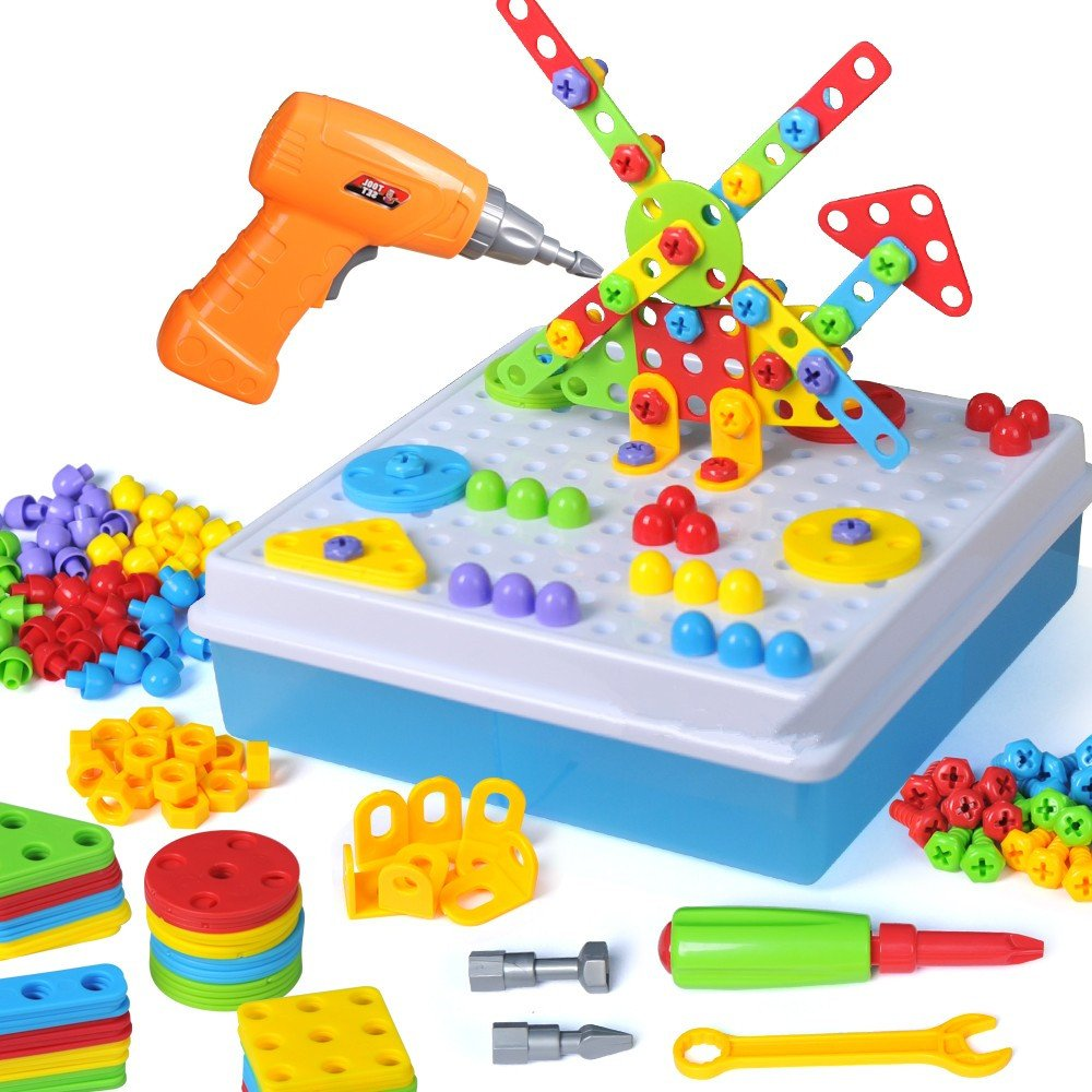 Drill & Play Creative Educational Toy With Real Toy Drill - Mosaic Design Building Toys Tool Kit Review