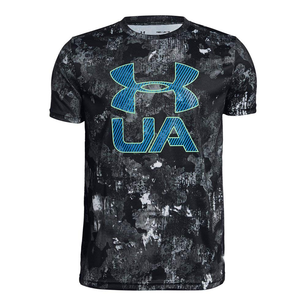 Under Armour Boys' Printed Crossfade T-Shirt, Black (003)/Green Typhoon, Youth X-Small by Under Armour