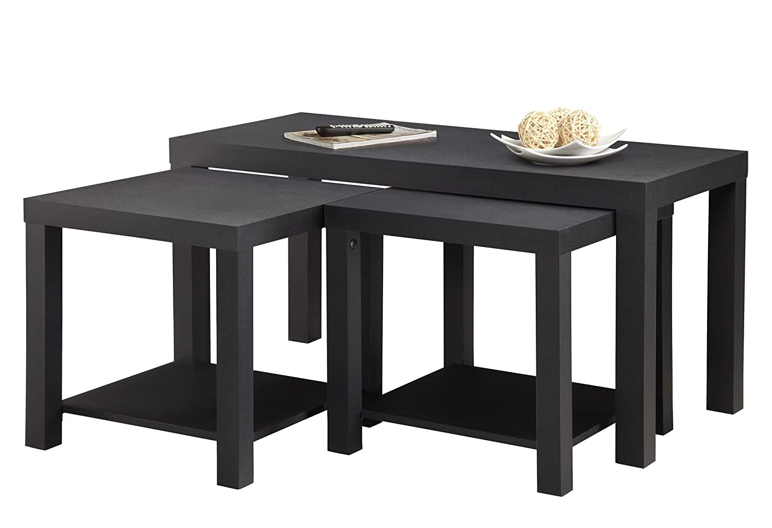 Amazon.com: Ameriwood Home Holly Bay Coffee Table And End Table Set, Black:  Kitchen U0026 Dining