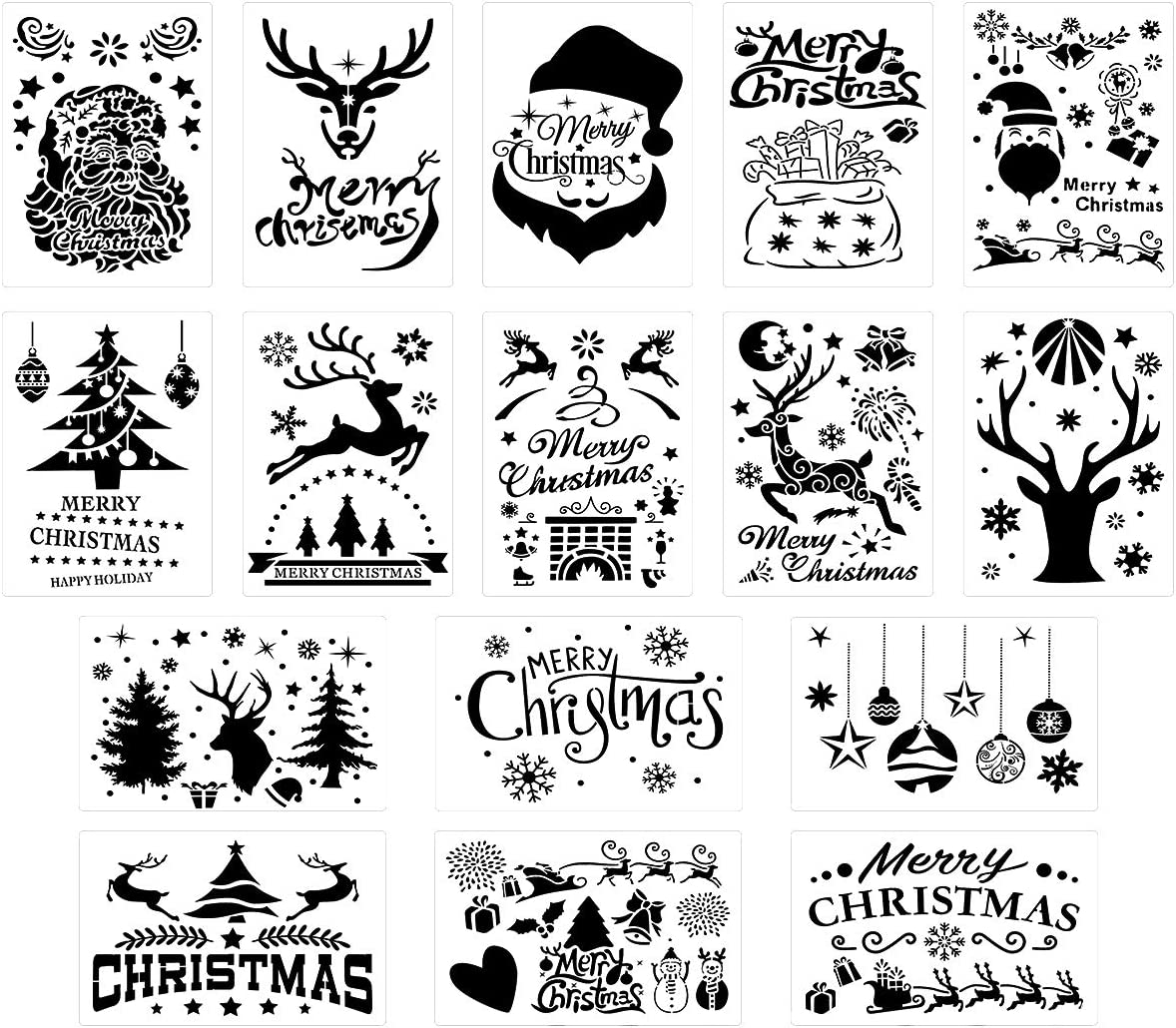 TUPARKA 24Pcs Christmas Stencils Journal Template Painting Stencil for Notebook Card DIY Projects(24 Styles)