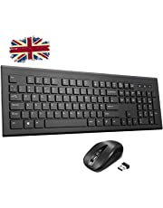 Wireless Keyboard and Mouse Set,【Chiclet Design, Long Battery Life】Patuoxun Ergonomic 2.4G Cordless Keyboard & Mouse Combo with Nano USB Receiver for Computer PC Apple Mac Windows, UK Layout