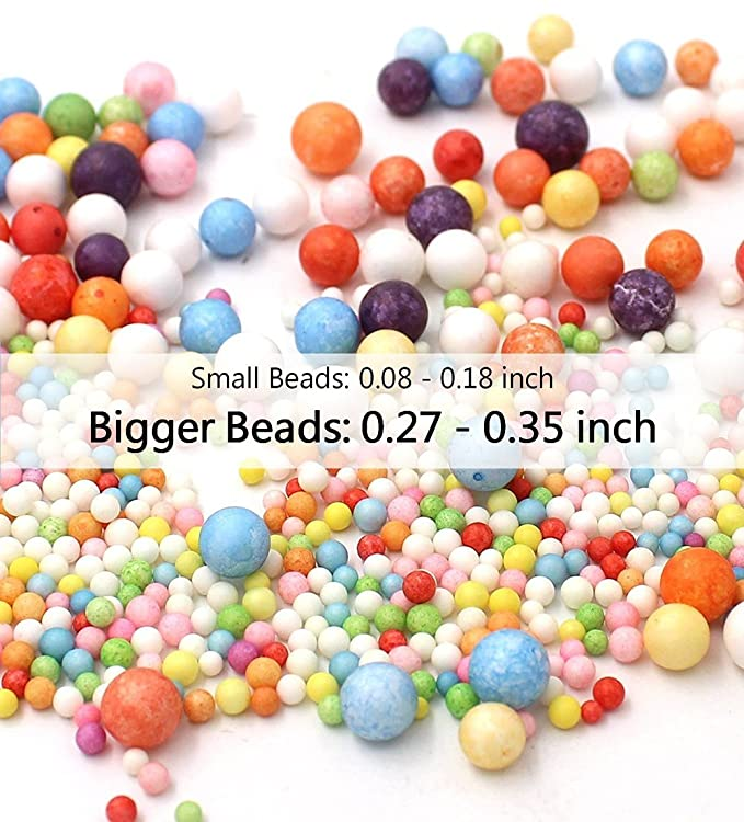 Juego de pelotas de espuma para hacer Slime, 15 bolas de espuma de poliestireno para Slime de 0,08 - 0,35 pulgadas con herramientas de adelgazamiento, ...