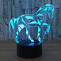 3D Illusion Lamp Trojan Horse Led Night Light, USB Powered 7 Colours Flashing Touch Switch Bedroom Decoration Lighting for Kids Christmas Gift