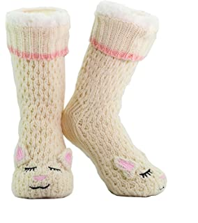 Bellissimo regalo NON SLIP CityComfort Slipper Socks Donna Bambina Premium Soft Home Calzini Taglia 4 5 6 7 8 Novit/à Gufo Cane Gatto Fluffy e Furry Slipper Sock