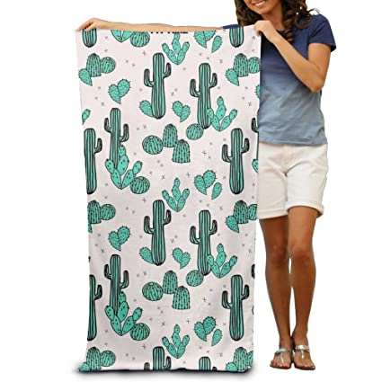 Amazon.com: DIMANNU Bath Towel Green Cactus Plants Patterned Soft Beach Towel 31