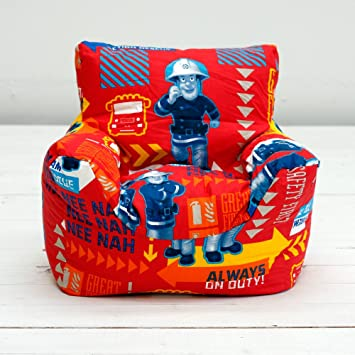 Excellent Fireman Sam Alarm Red Boys Kids Character Bean Chair Beanbag Filled With Beans Squirreltailoven Fun Painted Chair Ideas Images Squirreltailovenorg