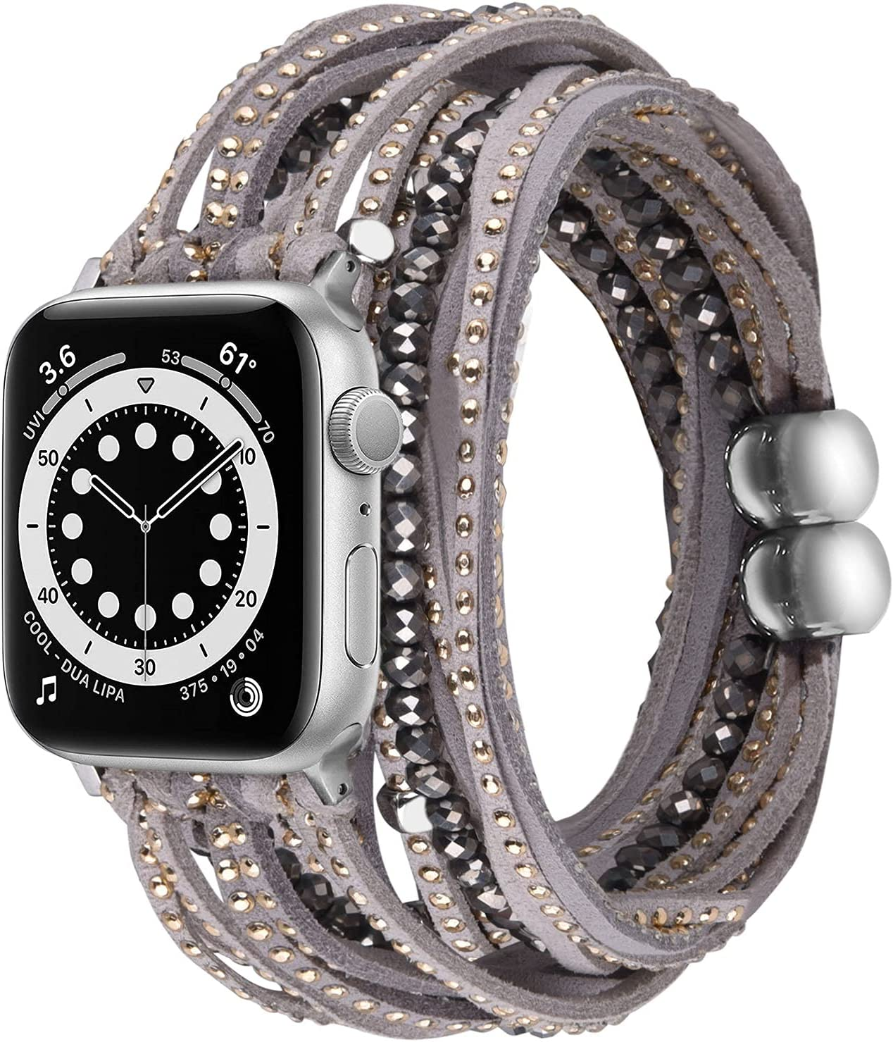 V-MORO Compatible with with Apple Watch Series 6 44mm 42mm Band Multilayer Wrap Bracelets for Women Suede Leather with Handmade Boho Bead Strap Replacement for iWatch Series 6/5/4/3/2/1/SE,Fit for 5.1