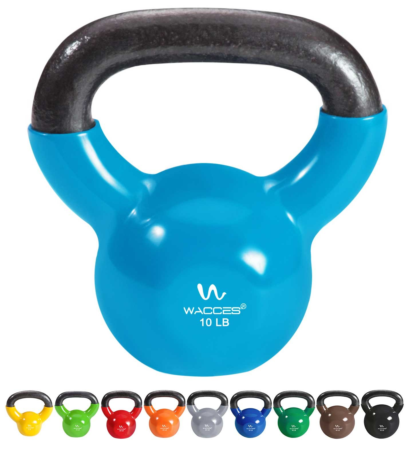 Wacces Single Vinyl Dipped Kettlebell for Croos Training, Home Exercise, Workout 10LB