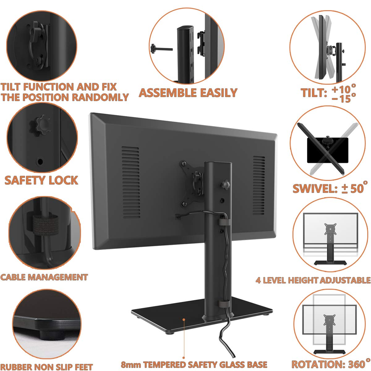 Single LCD Computer Monitor Free-Standing Desk Stand Riser for 13 inch to 32 inch Screen with Swivel, Height Adjustable, Rotation, Holds One (1) Screen up to 77Lbs(HT05B-001) by Hemudu (Image #2)