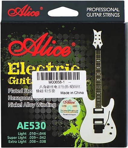 Alice AE530 cuerdas para guitarra eléctrica, extra light (.008 ...