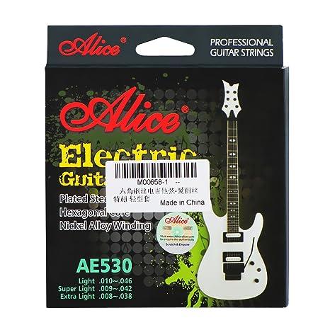 "Alice AE530 cuerdas para guitarra eléctrica, extra light (.008) ""-"