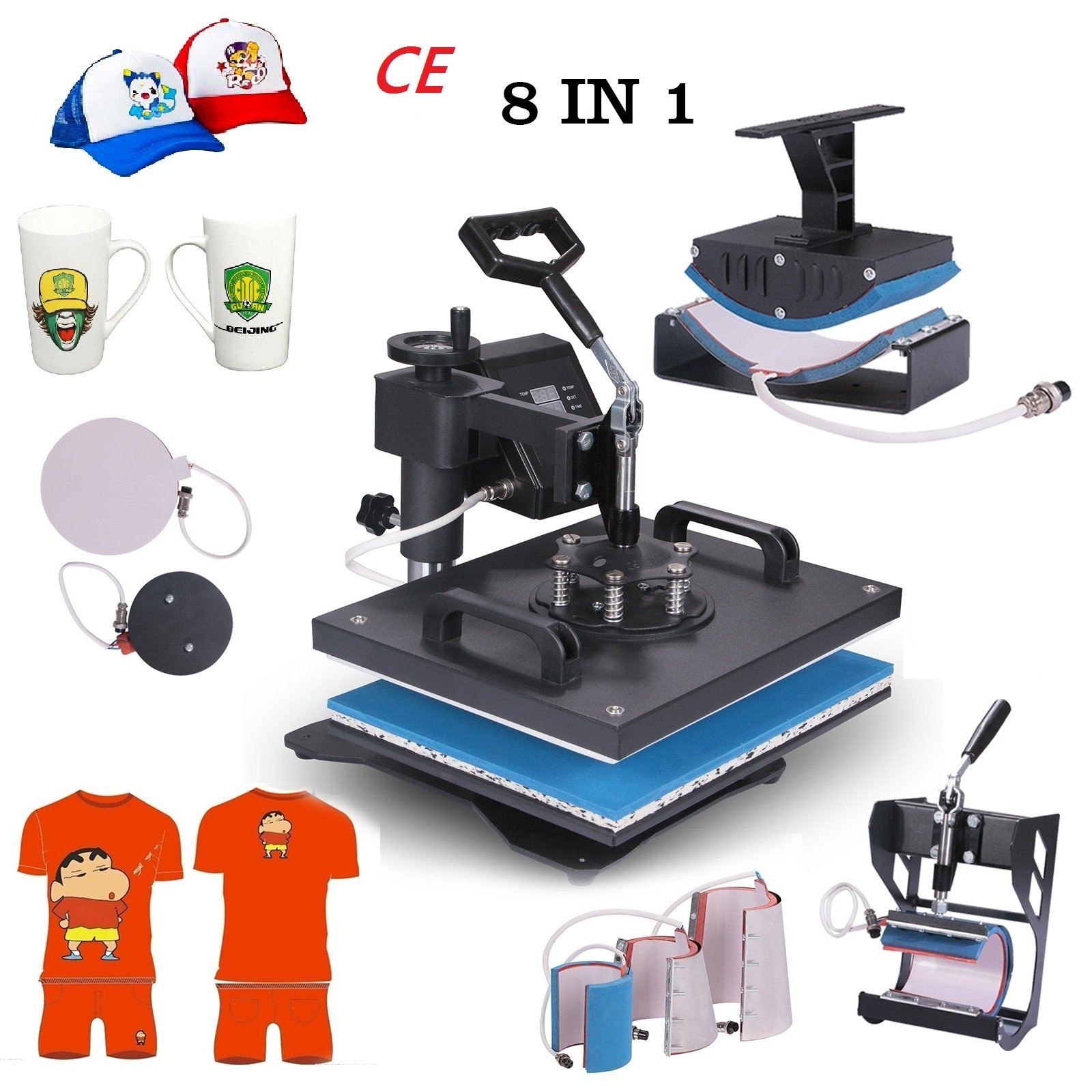 Superland Power Heat Press 8 in 1 Industrial-Quality 12-by-15-Inch Multifunctional Sublimation T-Shirt Hat Mug Heat Press Machine (8 in 1: 12'' x 15'') by Superland