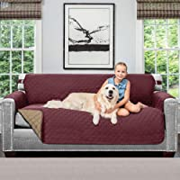 Sofa Shield Original Patent Pending Reversible Large Sofa Protector for Seat Width up to 70 Inch, Furniture Slipcover, 2 Inch Strap, Couch Slip Cover Throw for Pets, Kids, Cats, Sofa, Burgundy Tan