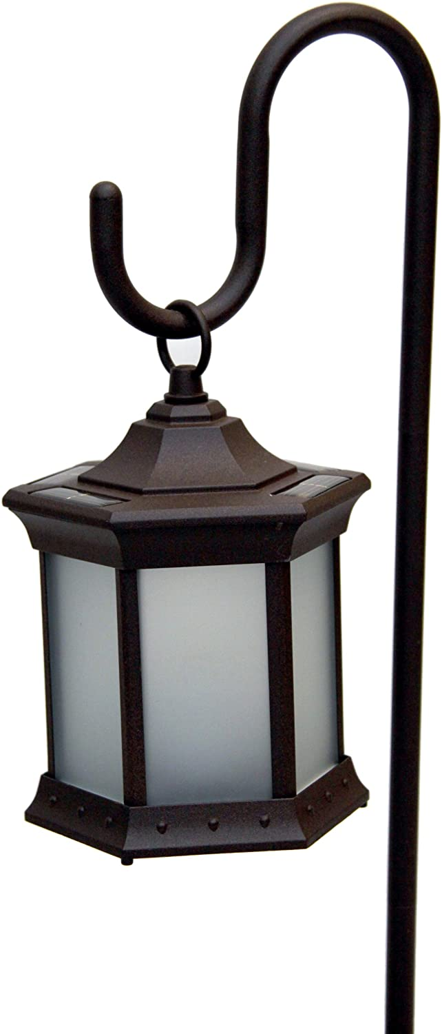 Starlite Garden and Patio Torche Solar Lantern with Shepherds Hook in Frosted Glass