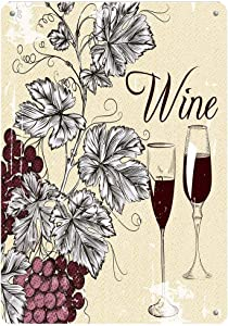 Bohemian Style Grapes Wine Vintage Metal Sign Iron Painting for Indoor Outdoor Home Bar Coffee Kitchen Wall Decor 8 X 12 Inch