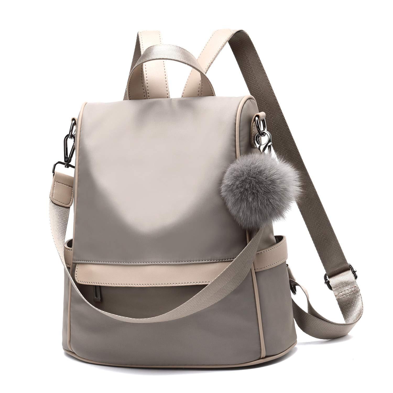 Women Backpack Purse Nylon Anti-theft Fashion Casual Lightweight Travel School Shoulder Bag (Khaki)