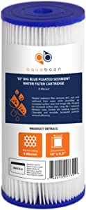 """Aquaboon 5 Micron 10"""" Big Blue Pleated Sediment Water Filter Replacement Cartridge   Whole House Sediment Filtration   Compatible with FXHSC, ECP5-BB, FM-BB-10-5, CP5-BBS, 255490-43, HDC3001, 1-Pack"""