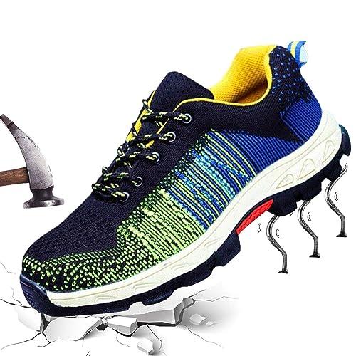 Hombre Mujer Zapatillas de Seguridad con Puntera de Acero Antideslizante Transpirable Zapatos de Trabajo Calzado de Trabajo Deportivos Botas de Protección ...
