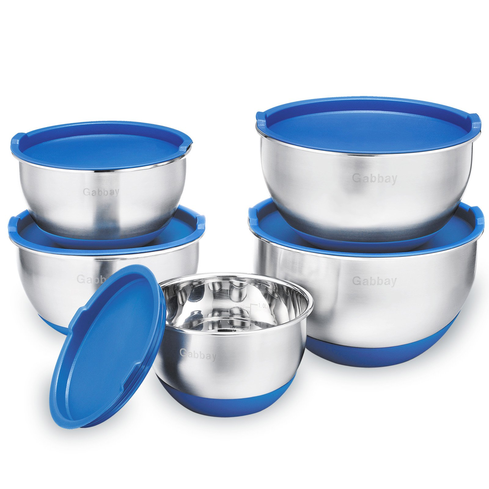 5 Piece Stainless Steel Mixing Bowls Set With Lids, Non-Slip Silicone Bottom, Stackable For Minimal Storage by Gabbay- 1 ,2 ,2.5 ,3.5 ,4.5 Qt.
