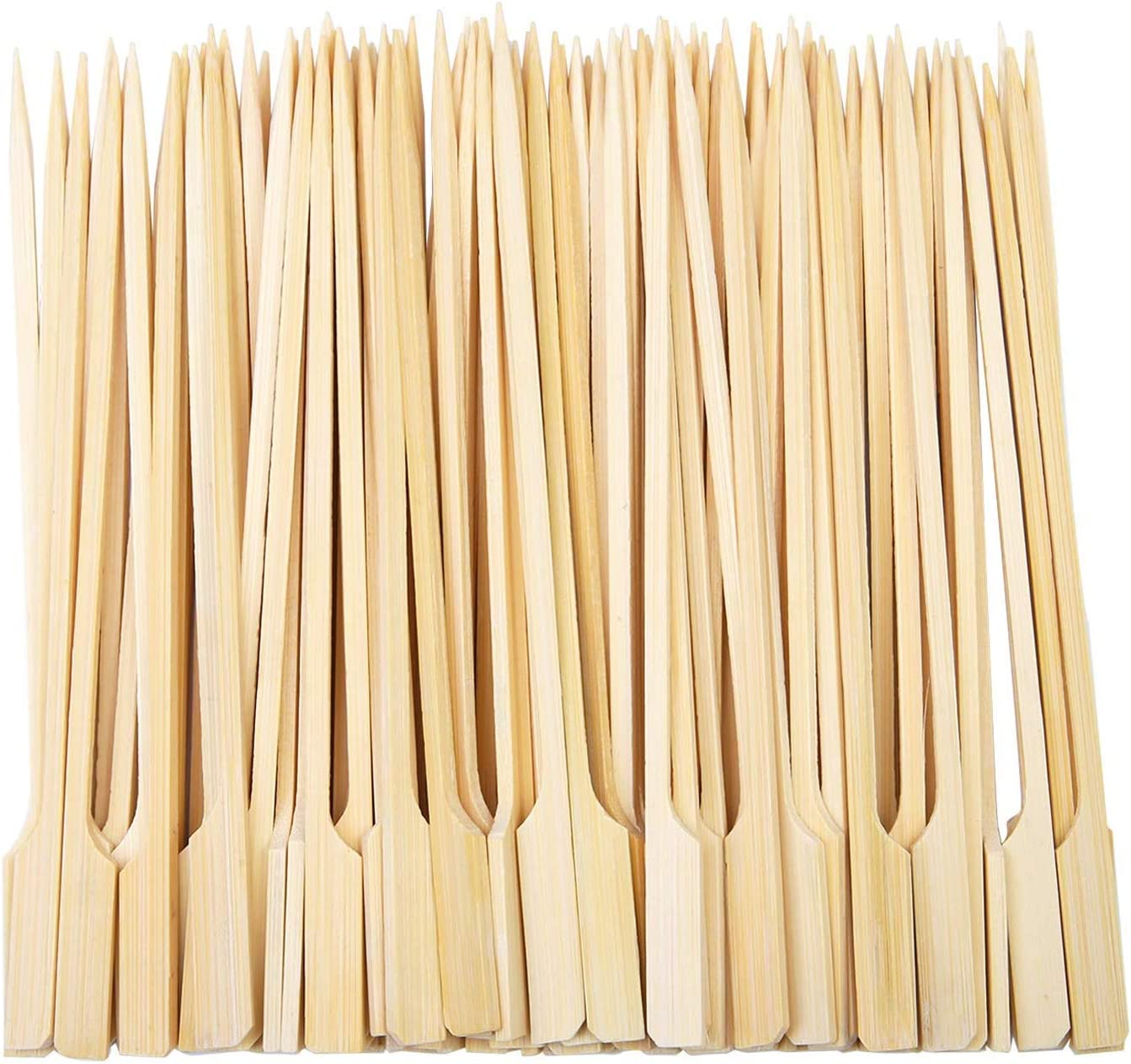 9cm Buffets Party Kitchencookshop Paddle Skewers100 Pieces Bamboo Barbecue Bamboo Skewers Cocktail Sticks for Barbeque Cocktails Burgers Kebabs
