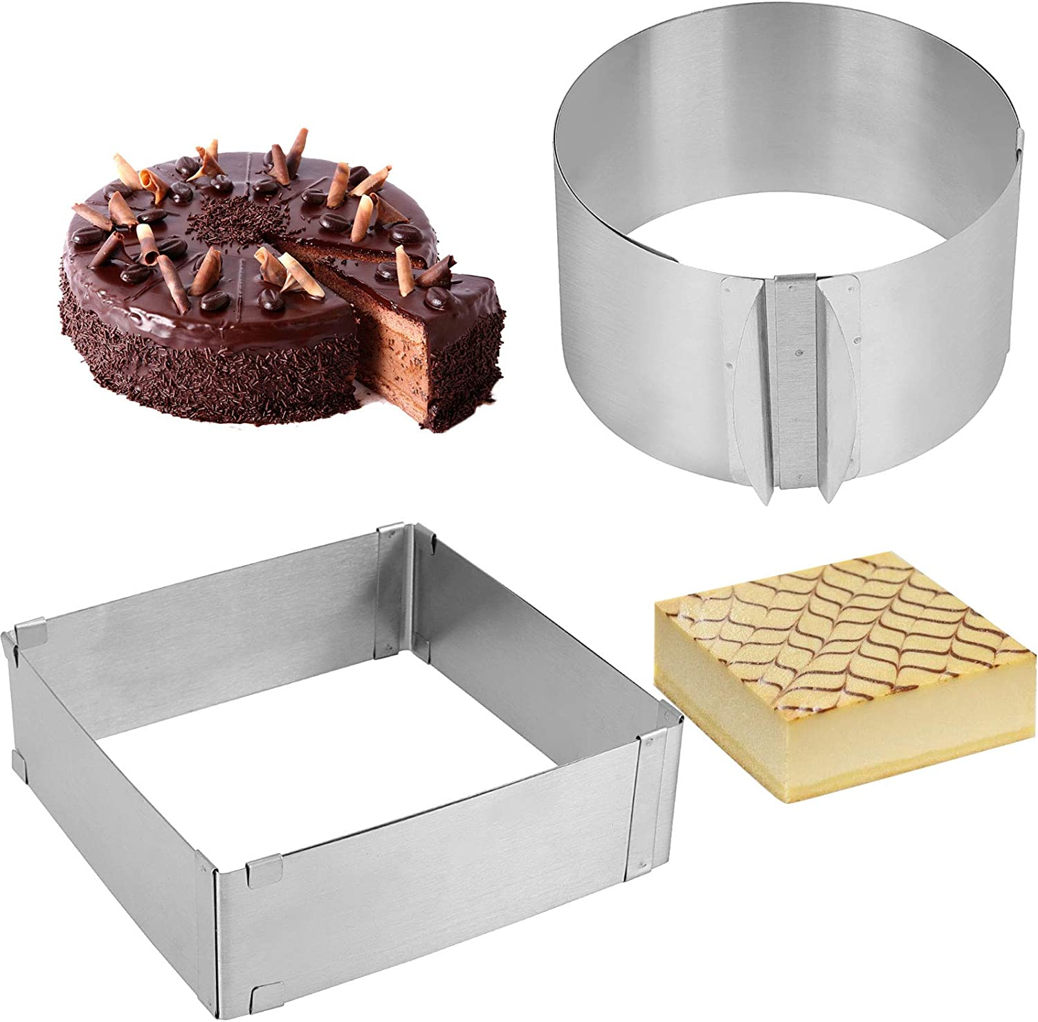 ZOENHOU 2 Pack 6-12 Inch Cake Mold Ring, Stainless Steel Mold Cake Baking Adjustable Mousse Cake Ring Mould Tools, with scaling for Kitchen DIY Pastry, Square and Round
