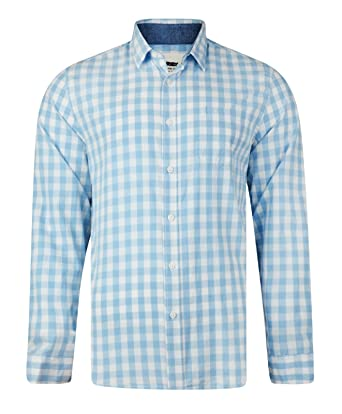 9675d9acb2e7 Mens Shirt Long Sleeve EX MATALAN Blue & White: Amazon.co.uk: Clothing
