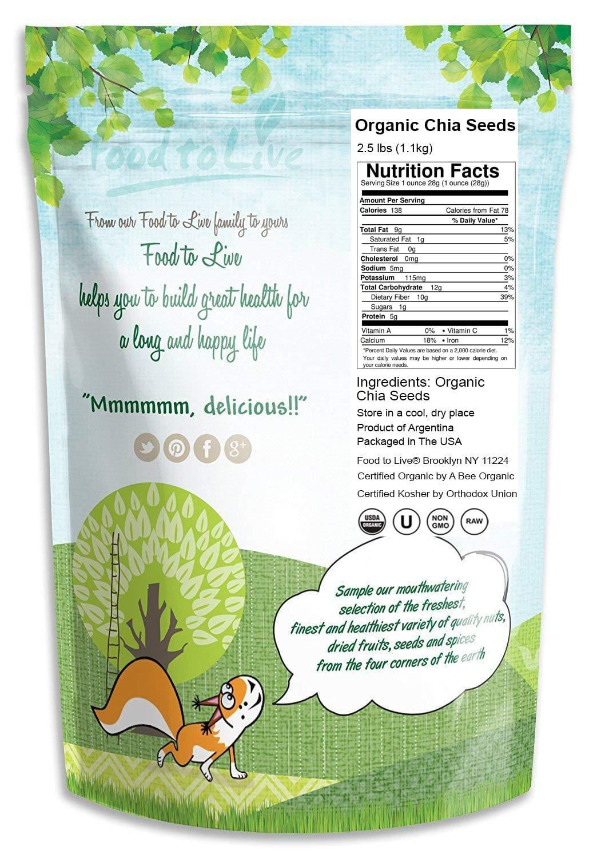 Food To Live Certified Organic Chia Seeds Raw Black Non Gmo 1 Kg Kosher Bulk