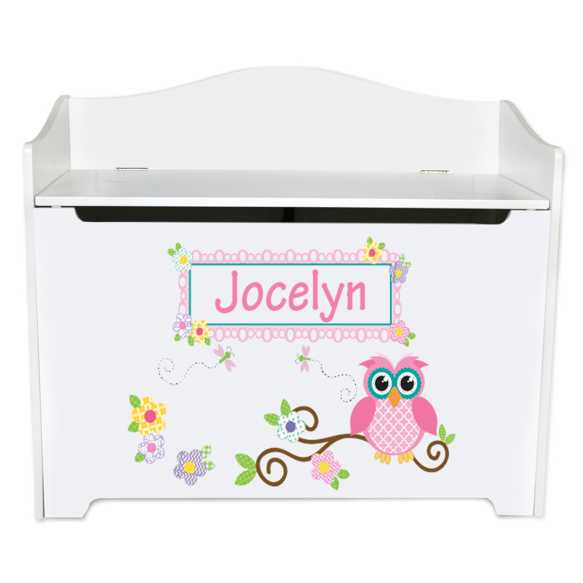 Personalized Gray Owl Toy Box Bench Custom