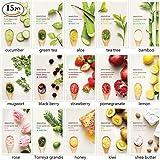 Travelmall Conjunto de 15 Pcs Mascarillas Esfoliantes y Limpiadoras de Piel de INNISFREE Estupendo Estilo Frutal y Vegetal para El Cuidado de La Piel Alta Calidad