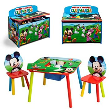 Amazon.com: Disney Mickey Mouse Colorful Toy Box, 2-Piece Chair and ...