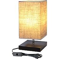 Lámpara de noche con pantalla cuadrada de tela, casquillo E27 e interruptor, ideal para dormitorios, para el salón, mesita para el sofá, oficina
