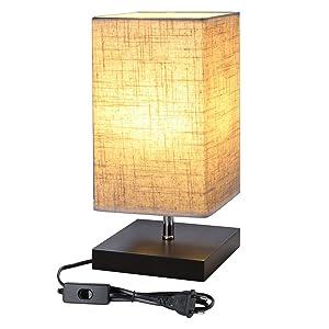 LE Lighting EVER Lampe de Chevet E27, Socle en Bois Carré, Abat-jour en Tissu, Lampe de Chevet Joli pour Bureau Chambre Salon Hotêl Café, Rectangulaire