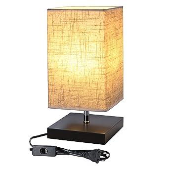 LE Lighting EVER Lampe de Chevet E27, Socle en Bois Carré, Abat-jour ... 76a37afc6df0