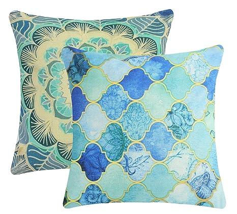 amazon com jinbeile retro throw pillow covers blue mandala moroccan rh amazon com