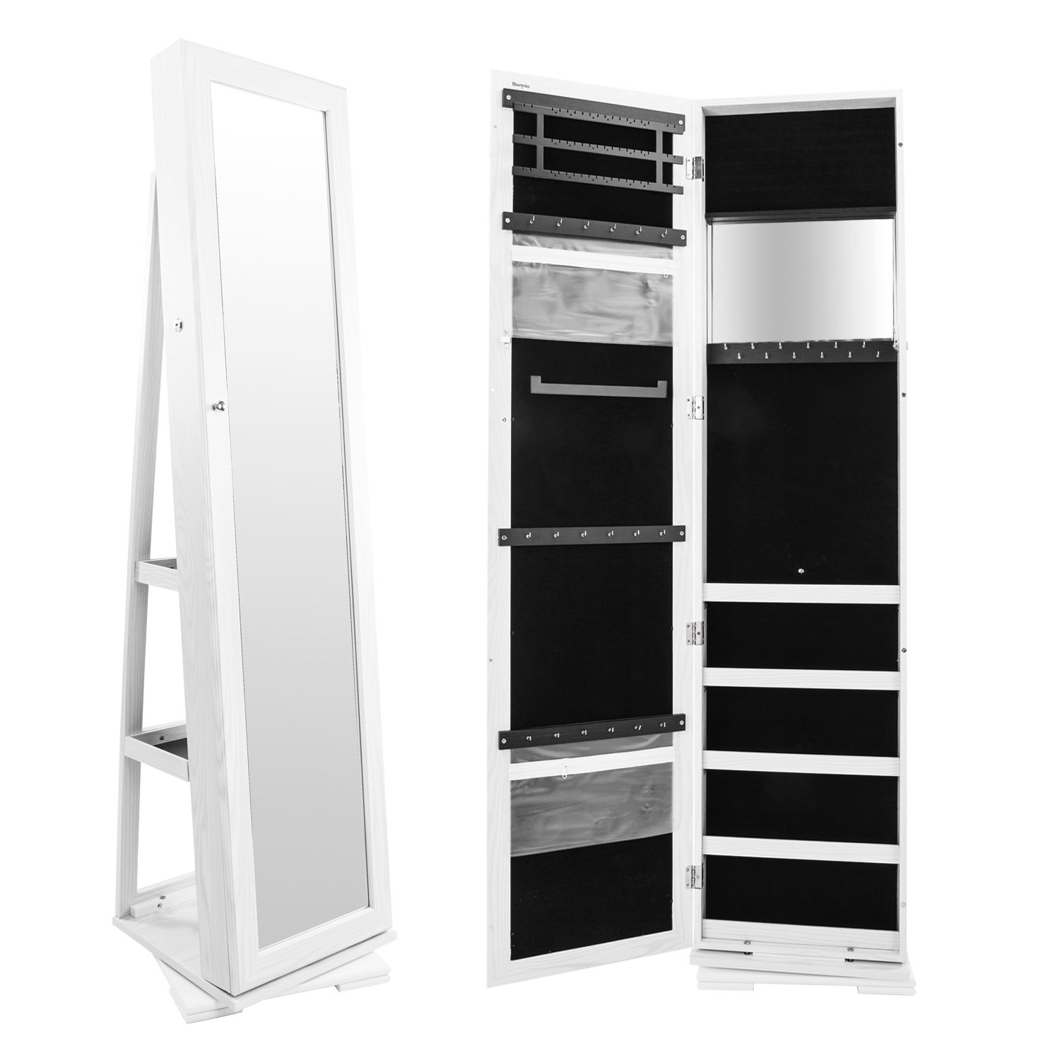 Bonnlo Jewelry Armoire Cosmetic Organizer, Mirrored Jewelry Closet Cabinet, Over The Door Mirror Wall, Lockable Mounted Cabinet, Full Length Mirror Solid Construction (360 Rotation)