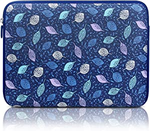 Arvok 13-14 Inch Laptop Sleeve Multi-Color & Size Choices Case/Water-Resistant Neoprene Notebook Computer Pocket Tablet Carrying Bag Cover, Blue with Leaves