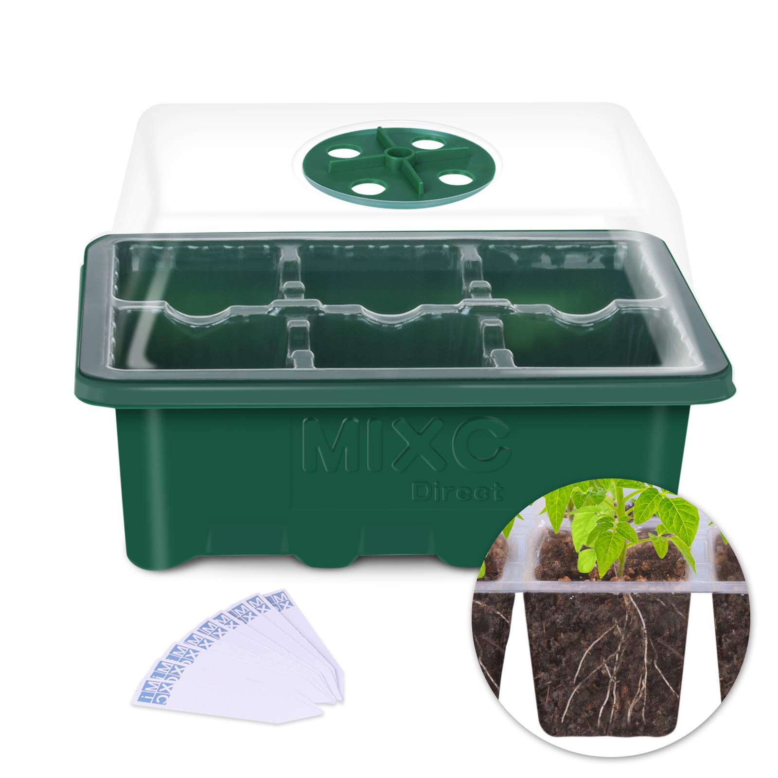 10 Set Seedling Trays Seed Starter Kit, MIXC 60 Large Cells Mini Propagator Plant Grow Kit with Humidity Vented Domes and Base for Seeds Starting Greenhouse (6 Cells per Tray) by MIXC