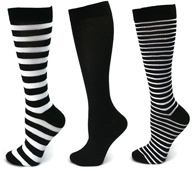 8480cace470 3 Pairs Womens Striped Knee High Socks