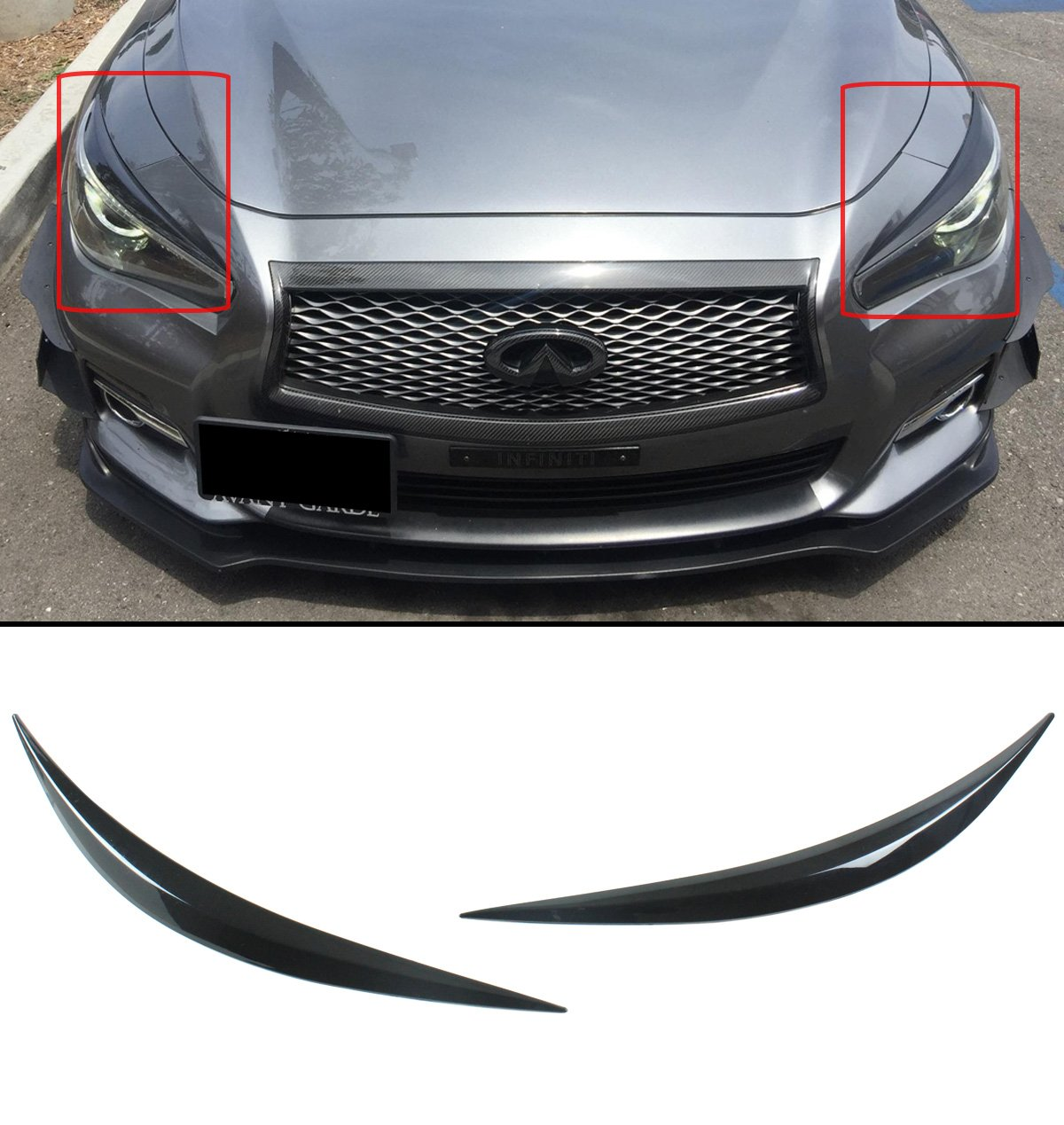 Cuztom Tuning for 2014-2017 Infiniti Q50 Glossy Black ABS Headlight Cover Eyelid Eyebrows