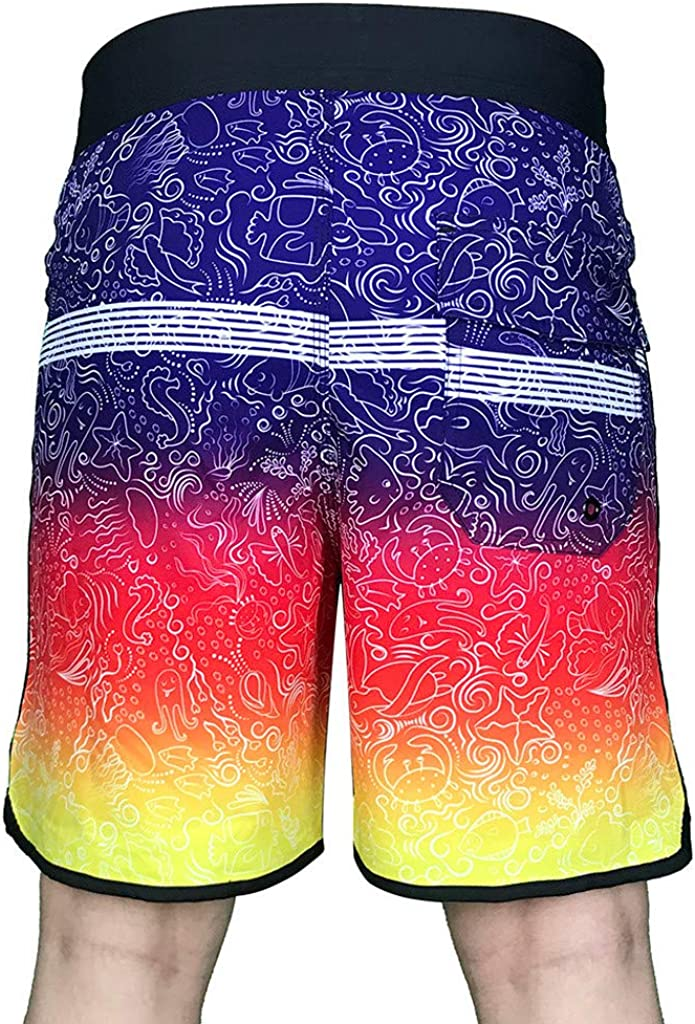 BALABA◕。Men Beach Short Pants Casual Tropical Style Floral Print Swimsuits Loose Waterproof Swim Pants Surfing Swimwear