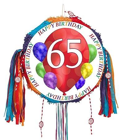 65TH BIRTHDAY BALLOON BLAST PULL PINATA EACH