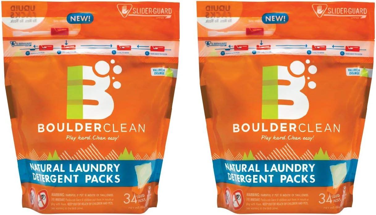 Boulder Clean Laundry Detergent Packs, Valencia Orange, 68 loads, (2-Pack, 34 each)