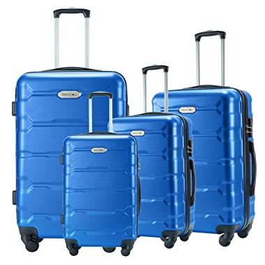 Seanshow Luggage Sets 4 PCS Lightweight Spinner Suitacase Set 18  22  26  30  blue