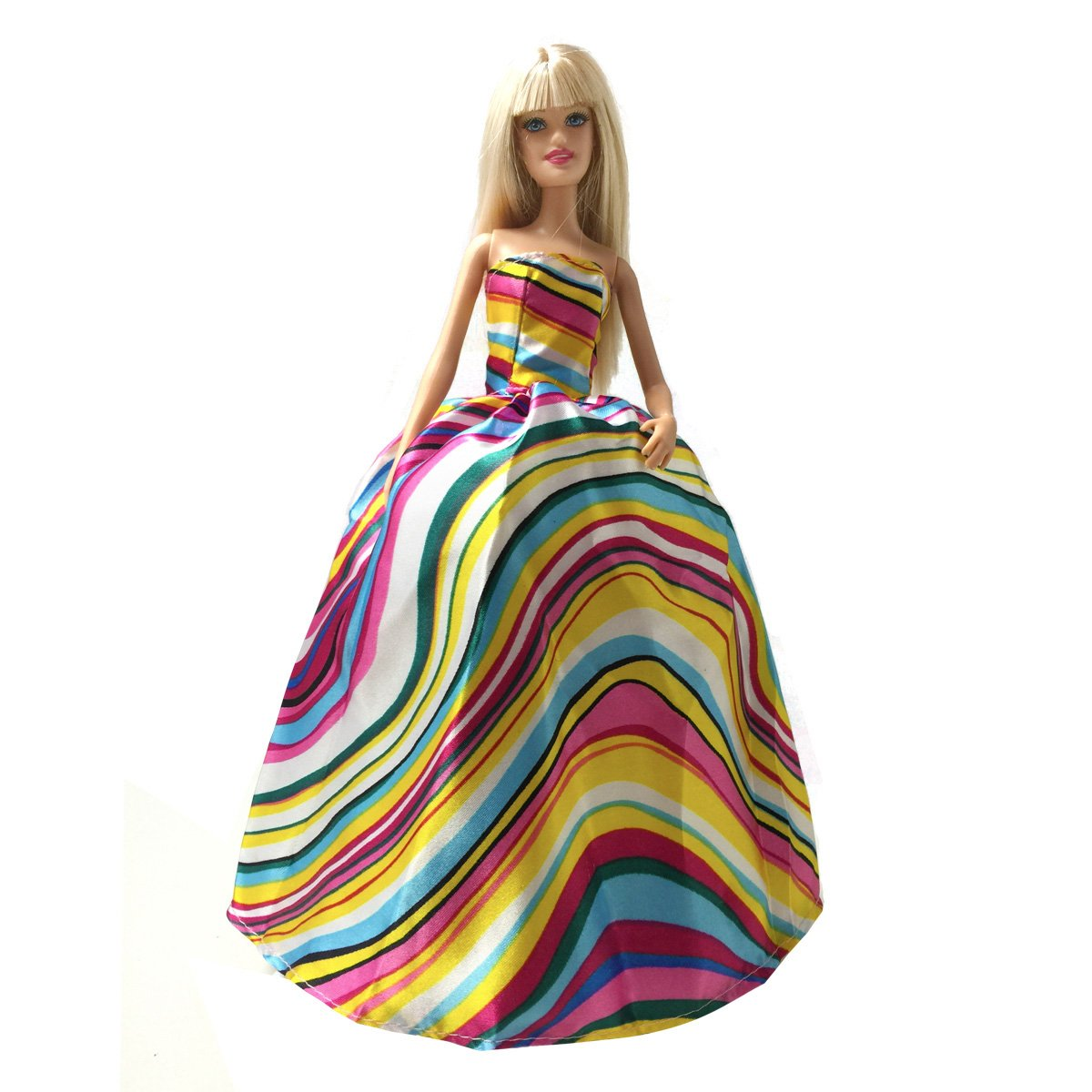 Peregrine Bright Color Wave Stripe Gown for 11.5 inches Dolls