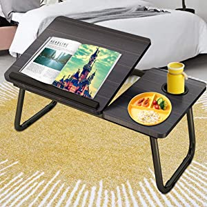 Laptop Desk for Bed,Asltoy Laptop Bed Tray Table,Foldable Lap Desk Stand Notebook Desk Adjustable Laptop Table for Bed Portable Notebook Bed Tray Lap Tablet with Cup Holder (Black-2)