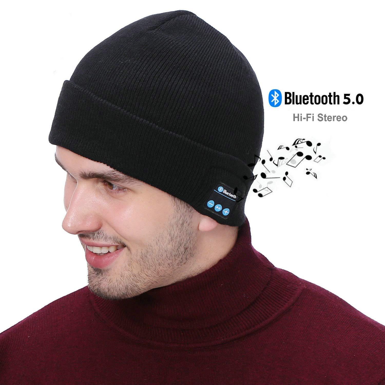 Wireless Beanie Hat, 5.0 Hands-Free Knit Music Cap with HD Stereo Speaker Headphone for Men Women, Rechargeable Headphone Beanie for Women Mom Her Men Teens Boys Girls