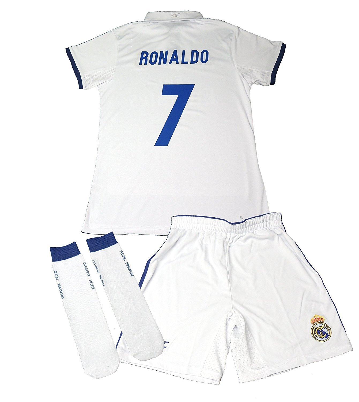 REAL MADRID Trikot- Set, Offizielle Nachbildung des Real Madrid, Trikots von 2016-2017, mit der aufschrift Cristiano Ronaldo- Kinder 12 Don Gol