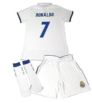REAL MADRID- Kit 1ª Equipación Infantil 2016-2017 Réplica Oficial Cristiano Ronaldo- Talla