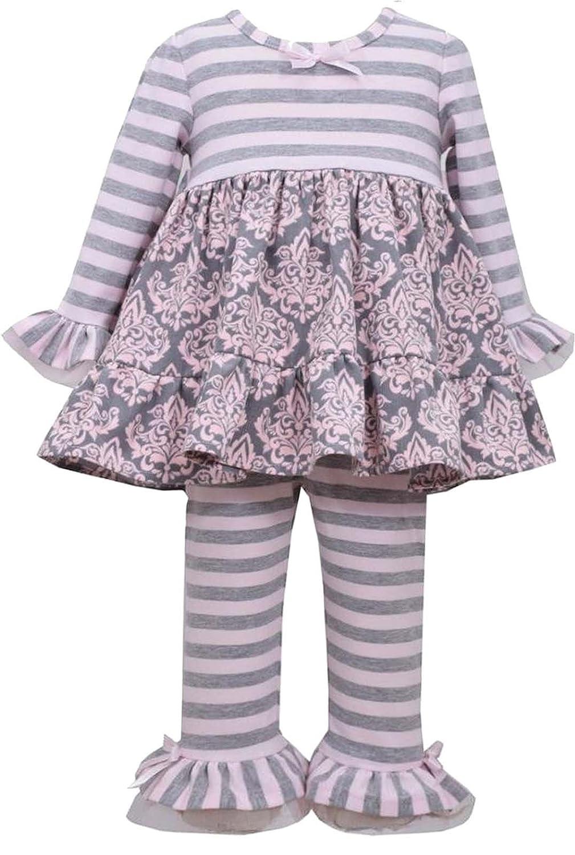 Little Girls 2T-6X Pink Grey Stripe Knit and Floral Corduroy Dress//Legging Set